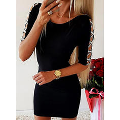 Solid 1/2 Sleeves Bodycon Above Knee Little Black/Casual/Elegant Dresses