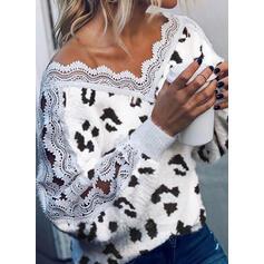 Encaje Leopardo Cuello en V Casuales Suéteres