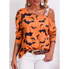 Halloween Tisk Animal Jedno rameno Dlouhé rukávy Casual Bluze