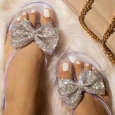 Women's PVC Flat Heel Sandals Peep Toe With Rhinestone Sequin shoes