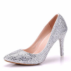 Women's Leatherette Stiletto Heel Closed Toe Pumps With Crystal Heel Crystal