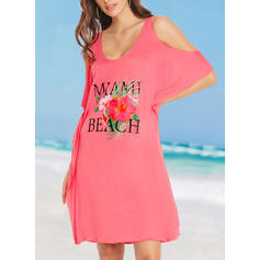 Floral Round Neck Fashionable Beautiful Attractive Cover-ups Swimsuits