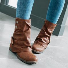 Dla kobiet PU Płaski Obcas Plaskie Zakryte Palce Kozaki Z Klamra obuwie