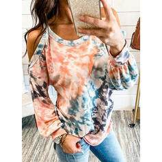Tie Dye Cold Shoulder Long Sleeves Casual Blouses