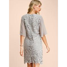 Lace/Solid 1/2 Sleeves/Split Sleeve Sheath Knee Length Party/Elegant Dresses