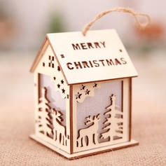 Merry Christmas Hanging House Wooden Lights Christmas Décor Diy Craft