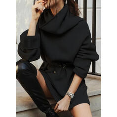 Solid Cowl Neck Casual Long Sweater Dress