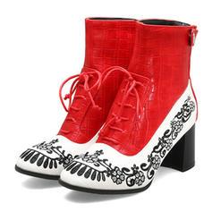 Жіночі ПУ Квадратні підбори Бокові черевики з Блискавка Зашнурувати взуття