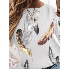 Tisk Feather Dantelă Kulatý Výstřih Dlouhé rukávy Tricouri