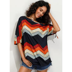 Striped One-Shoulder 1/2 Sleeves Casual Knit Blouses