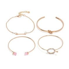 Stylish Alloy Rhinestones With Rhinestone Women's Bracelets (Set of 4)