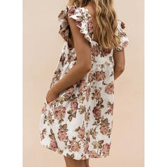 Print/Floral Cap Sleeve Shift Above Knee Casual Dresses