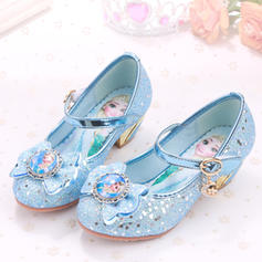 Girl's Sparkling Glitter Low Heel Closed Toe Pumps Flower Girl Shoes With Rhinestone Sparkling Glitter Velcro