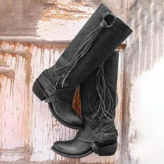 Women's PU Low Heel Pumps Closed Toe Boots Knee High Boots With Buckle Tassel shoes
