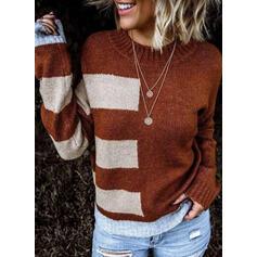 Színblokk Kerek nyak Hétköznapokra πουλόβερ