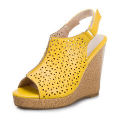 Women's PU Wedge Heel Sandals Wedges Peep Toe With Buckle Hollow-out shoes