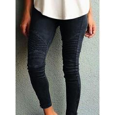 Striped Shirred Plus Size Long Skinny Yoga Plain Leggings
