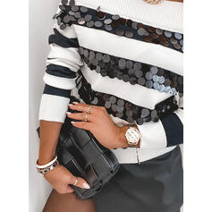 Striped Sequins Off the Shoulder Casual Sweaters