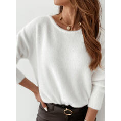 Solid Round Neck Sexy Sweaters