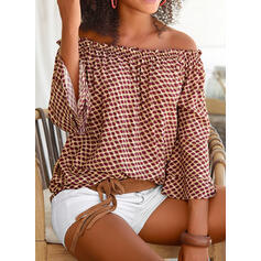 PolkaDot Off the Shoulder 3/4 Sleeves Casual Blouses