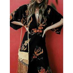 Impresión/Floral Mangas 3/4 Cubierta Elegante/Vacaciones Midi Vestidos
