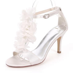 Women's Silk Like Satin Stiletto Heel Pumps Sandals With Satin Flower