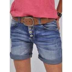 Pevný džínovina Nad kolenem Neformální Vinobraní Plus velikost hlubokým výstřihem patch Knoflík Kalhoty Šortky Denim & Džíny
