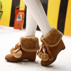 Femmes Suède Talon compensé Compensée Bottes Bottines avec Bowknot chaussures