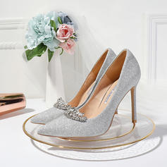 Women's Sparkling Glitter Stiletto Heel Closed Toe Pumps With Crystal