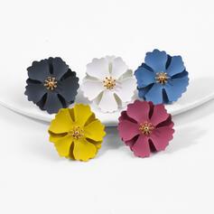 Charme Alliage avec une fleur Boucles d'oreilles