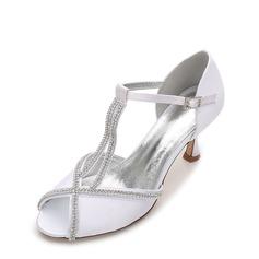 Women's Silk Like Satin Stiletto Heel Peep Toe Pumps Sandals With Buckle Rhinestone Chain