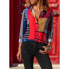 Print Color Block Lapel Long Sleeves Button Up Casual Knit Shirt Blouses