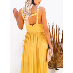 Print/Floral/Backless Sleeveless A-line Skater Casual/Vacation Maxi Dresses