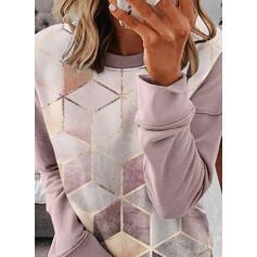 Geometrisk rund hals Lange ærmer Sweatshirts
