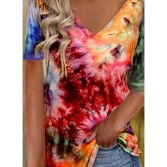 Tie Dye Dekolt w kształcie litery V Rękawy 1/2 T-shirty