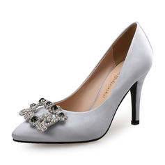 De mujer satén sedoso Tacón stilettos Salón con Crystal zapatos