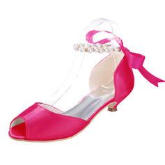 Frauen Satin Kätzchen Absatz Peep-Toe Sandalen mit Nachahmungen von Perlen Zuschnüren