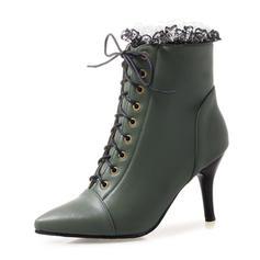 Femmes Similicuir Talon stiletto Escarpins Bottes Bottines Martin bottes avec Plissé Dentelle chaussures