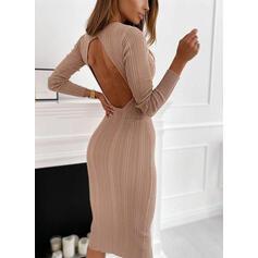 固体 長袖 ボディコンドレス カジュアル ミディ ドレス