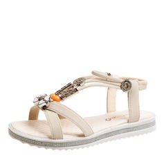Women's Leatherette Flat Heel Sandals Flats Peep Toe With Pearl shoes