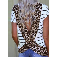 Striped Leopard Round Neck Short Sleeves Casual T-shirts
