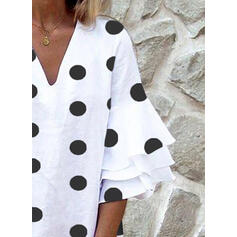 PolkaDot 3/4 Sleeves/Flare Sleeves Shift Above Knee Casual Tunic Dresses