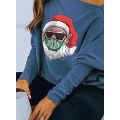 Распечатать Одно плечо Длинные рукова Повседневная рождество Блузы