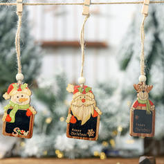 Bonhomme de neige Renne Père Noël Noël Pendaison En bois Pendentif noel Ornements suspendus (Lot de 2)
