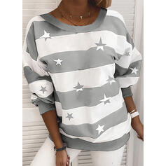 Print Color Block Round Neck Long Sleeves Casual T-shirts