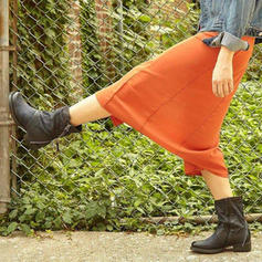 Femmes PU Talon plat Bottines avec Zip chaussures