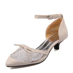 De mujer Cuero Malla Tacón stilettos Salón Cerrados Mary Jane con Bowknot Hebilla zapatos