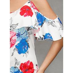 Print/Floral Cold Shoulder Sleeve Shift Above Knee Casual/Boho/Vacation Dresses