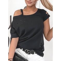 Sólido Ombros à Mostra Manga Curta Casual Camisetas