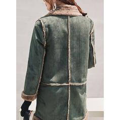Polyester Cotton Long Sleeves Plain Blend Coats